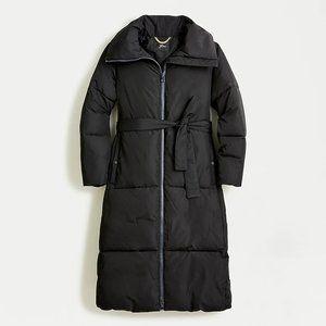 J Crew Belted Puffer Jacket Long Black Full Length